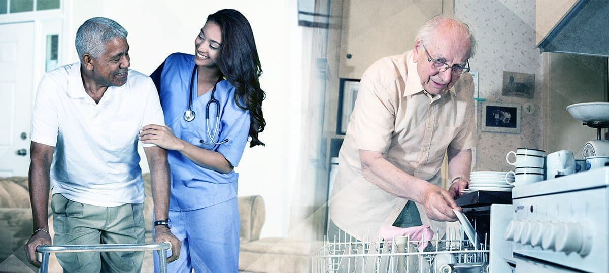 nurse helping patient, man loading dishwasher; senior living